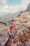 Boy hiking in the mountains Royalty Free Stock Photos