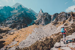 Boy hiking in the mountains Royalty Free Stock Images