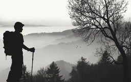 Boy Hiking Silhouette Stock Images