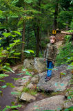 Boy on a hiking trail Royalty Free Stock Images