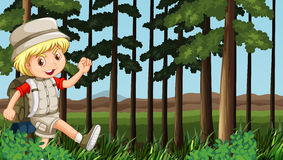 Boy hiking in the woods. Illustration royalty free illustration