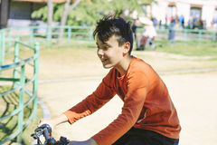 Boy with his bicycle Royalty Free Stock Photos