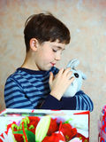 Boy with his birthday presents Stock Photo
