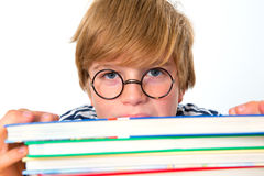 Boy with his books Stock Photography