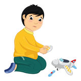 Boy with His Broken Toy Vector Illustration. 