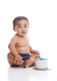A Boy and His Cake Stock Images