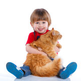 Boy with his cat Royalty Free Stock Images