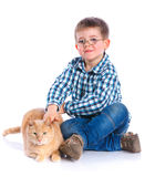 Boy with his cat Stock Photography