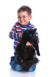 Boy with his cat Royalty Free Stock Image
