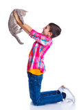 Boy with his cat Royalty Free Stock Photo