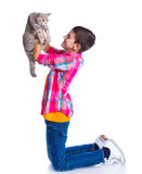 Boy with his cat Stock Photo