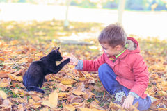 Boy and his cat. Little boy playing with his cat outdoor Royalty Free Stock Photos