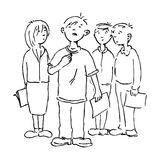 The boy and his colleagues. Illustration of a boy having a personal moment in front of his colleagues, black and white version. Useful also for educational or Stock Image