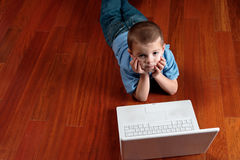 Boy and his computer Royalty Free Stock Photo