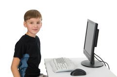 Boy on His Computer Stock Images