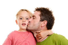 Boy and his daddy together stock photography