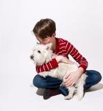 A boy and his dog stock photos
