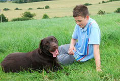 Boy and his dog Royalty Free Stock Images