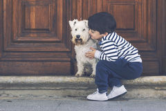 Boy with his dog. Happy boy with his dog Royalty Free Stock Images