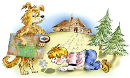 Boy and his dog looking for way home. Comic illustration Stock Photography