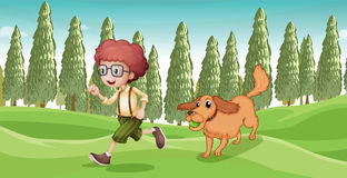 A boy and his dog playing at the park Stock Images
