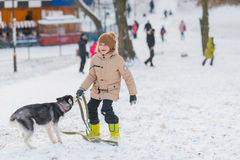 Boy with his dog in the snow Royalty Free Stock Image