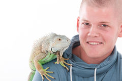 Boy and his dragon Royalty Free Stock Image