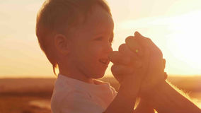Boy with his father on the beach at sunset. Happy family Royalty Free Stock Image
