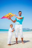 Boy and his father with kite Royalty Free Stock Images