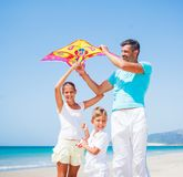 Boy and his father with kite Royalty Free Stock Photos