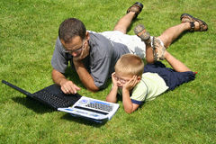 Boy and his father's royalty free stock images