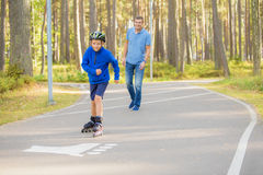 Boy and his father spending time together Stock Photo