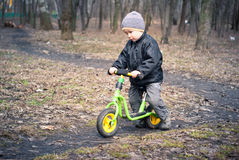 Boy on his first bike Royalty Free Stock Photography