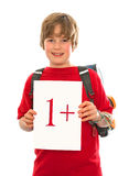 Boy with his good report card Stock Images