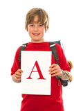 Boy with his good report card Royalty Free Stock Image