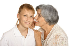 Boy and his grandmother Stock Photo