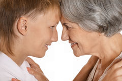 Boy and his grandmother Royalty Free Stock Images