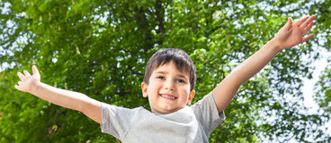 Boy with his hands up smiling Stock Images