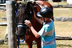 Boy and his horse. A young rider strokes the head of a horse Royalty Free Stock Photos