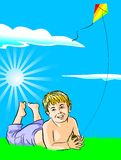 Boy with his kite. Vector illustration of a kid playing with his kite in a grass field on a clear day Vector Illustration