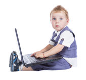 Boy at his laptop Stock Photo