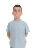 Boy with his mouth closed Stock Photo