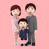 Boy and his parents in elementary school entrance ceremony Cherry blossoms Pink background. 3D illustration. Happiness lifestyle people, 3D illustration Royalty Free Stock Images