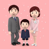 Boy and his parents in elementary school entrance ceremony Cherry blossoms Pink background. 3D illustration. Happiness lifestyle people, 3D illustration Stock Images
