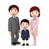 Boy and his parents in elementary school entrance ceremony Cherry blossoms white background. 3D illustration. Happiness lifestyle people, 3D illustration Stock Photos