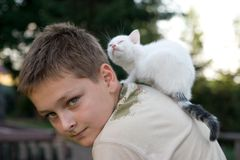 Boy and his pet Royalty Free Stock Photography