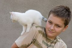 Boy and his pet Stock Photography