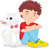 A boy with his pet. An illustration of a boy sitting down with his dog Stock Photos