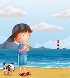 A boy and his pet at the beach stock illustration