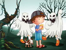 A boy and his pet at the graveyard with ghosts Royalty Free Stock Photography
